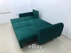 SUPER COMFY CORNER SOFA BED INGA, DEEP GREEN VELVET FABRIC! £130 off