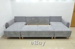 Sale! £150 Off! Corner Sofa Bed Astrid, Silver Waffle Fabric, Super Comfy