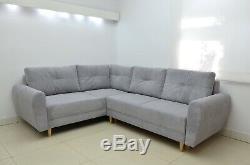 Sale! Corner Sofa Bed Nils, Scandi Style, Soft Waffle Fabric, Silver Grey