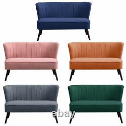 Scalloped Shell Velvet 2 Seater Sofa Small Corner Loveseat Living Bed Room Sofa