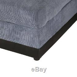 Scandi, large soft seater corner sofa bed Grey fabric, stylish design LEFT SIDE