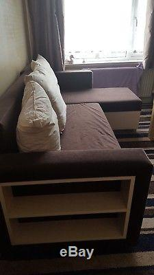 Settee corner sofa bed with storage couch cream / brown