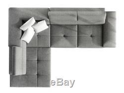 Sofa, Anton PU leather & fabric corner sofa + bed + storage, black grey white
