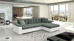 Sofa Avellino Corner Sofabed Fabric/Leather + Bed & Storage-Black/White&Grey