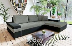Sofa Bangkok Corner Sofabed Fabric&Leather + Bed & Storage -Black/White&Grey