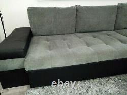 Sofa Bangkok Sofa Bed With Storage Fabric & Leather- Black/Grey, White/Grey