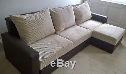 Sofa Bed Corner Cream/brown With Storage-wersalka