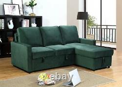 Sofa Bed Corner Fabric Sofa Bed with Storage & Reversible Chaise