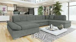 Sofa Bergen Large U Shape Corner Sofa Bed + Storage- Black/White/Grey/All Grey