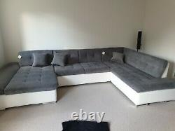 Sofa Bergen -U Shape Corner Sofa Bed +Storage- Leather/ Fabric -Black/White/Grey