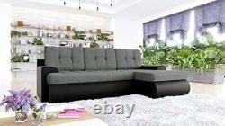 Sofa Calasetta Corner Sofabed + Fabric/Leather+Bed & Storage- Black&Grey