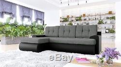Sofa Calasetta Corner Sofabed Fabric/Leather+Bed & Storage- Black/White&Grey