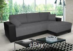 Sofa Cimiano Corner Sofa Bed + Storage Leather Fabric Black / White & Grey