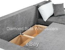 Sofa Kris Corner Sofa Bed With Storage Black/White & Grey / Leather & Fabric