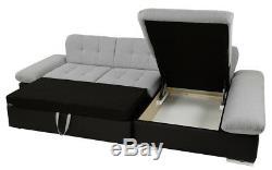 Sofa, Malvi PU leather & fabric corner sofa + bed + storage, black grey white
