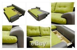 Sofa, calasetta leather & fabric corner sofa + bed + storage, black grey white