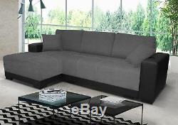 Sofa, cimiano leather & fabric corner sofa, bed, storage black grey white, cheap