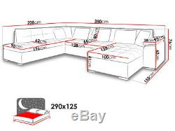 Sofa, scafati fabric & faux leather U-shape corner sofa, bed, black grey white