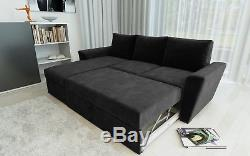 Stanford 3 Seat Pull Out Corner Sofa Bed Living Room in Black Fabric