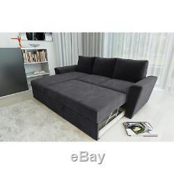 Stanford L Shape Corner Sofa Bed with Lift Up Storage Chenille Fabric
