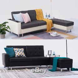 Stylish Faux Leather Corner Sofa Bed with Storage Ottoman Couch Recliner Sofabed