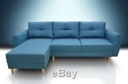 Super Comfy Corner Sofa Bed Inga, Available In All Colours Of Fabric, Blue