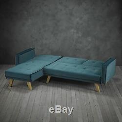Teal Green Velvet 3 Seater Corner Chaise Sofa Bed With Light Oak Legs