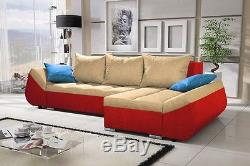 Torfu Universal Corner Sofa Bed Fabric or Faux Leather, Left & Right Hand