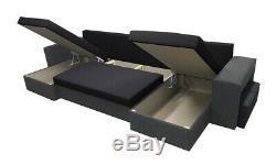 U-Shaped Corner Sofa Bed Grey Light and Grey Dark with 2 Footstools