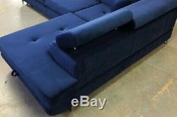 U Shaped Corner Sofa Bed Storage Navy VELVET PET CAT WATER RESISTANT FABRIC