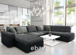 U-Shaped Corner Sofa Bed with Storage New Springs Faux Leather Fabric NIKO BIS