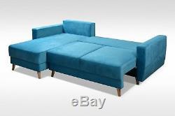 UK STOCK Stylish GREY CORNER SOFA BED wave sprung seat