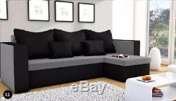 UK Stock Corner Sofa Bed in Grey & Black 2 to10 work days delivery/storage box