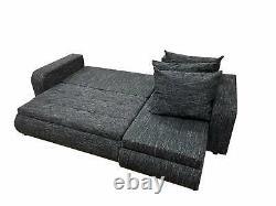 Universal Corner Sofa Bed BROOKLYN with Storage in Black