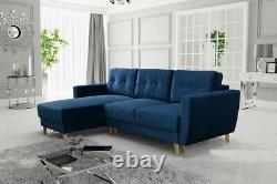 Universal Corner Sofa Bed RETRO with Storage, Fabric in Blue Navy