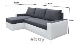 Universal Corner Sofa Bed in Dark Grey / Black colour & two storages