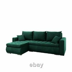 Universal Corner Sofa Bed in Green colour with bonell seat & one storage velvet
