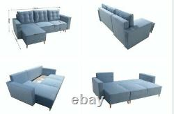 Universal Corner Sofa Bed in Green colour with wave spring seat & one storage