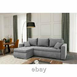 Universal Corner Sofa Bed in Grey colour with bonell seat & one storage velvet