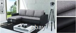 Universal Corner Sofa Bed in Light Grey&Black with spring seat & one storage