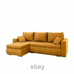 Universal Corner Sofa Bed in Mustard colour with bonell seat&one storage velvet
