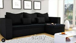 Universal Corner Sofa Bed with Storage, Fabric in BLACK