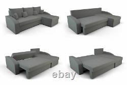 Universal Corner Sofa Bed with Storage, Fabric in Black and Gray