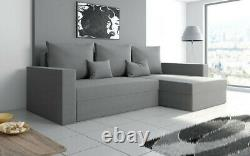 Universal Corner Sofa Bed with Storage, Fabric in Gray