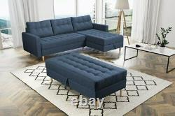 Universal Corner Sofa Bed with a pouf, 2 storages in Blue colour, spring seat