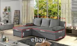 Universal L-Shaped Corner Sofa Bed with Storage New GINO BLACK