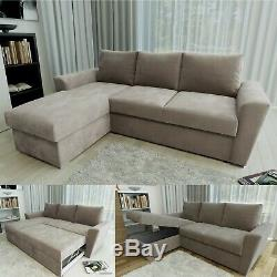 Universal Stanford L Shape Corner Sofa Bed Lift Up Storage Fabric Taupe