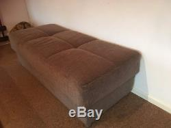VISION CORNER SOFA BED BROWN FABRIC RIGHT or LEFT WITH STORAGE & FOOTSTOOL