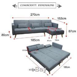 Velvet Corner Sofa Lounge / TV Lounge Sofa with Chaise / Sofa Bed Grey Fabric