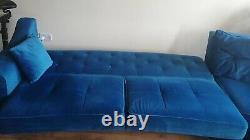 Velvet corner sofa bed